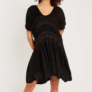 NWT Free People Black Rainbow Smocked Boho Dress S